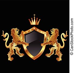 Vector of shield with heraldic lions icon design