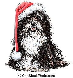 Shih Tzu with santa claus hat hand drawn vector , use for christmas background