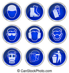 Shiny construction health and safety buttons isolated on white background