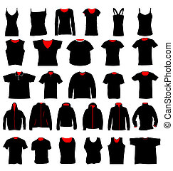 many shirts in different shapes and styles