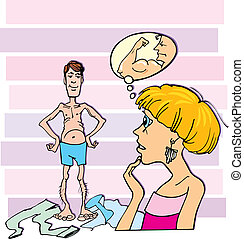 Cartoon illustration of shocked woman and thin guy