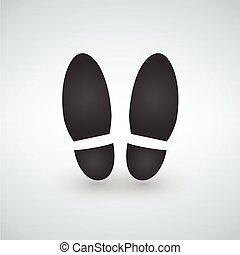 Shoe print - black vector icon with shadow
