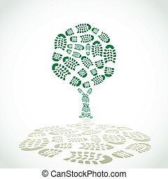 Shoes print in a tree silouette - illustration
