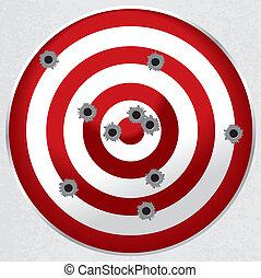 Red and white shooting range target shot full of bullet holes.