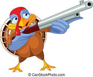 Illustration of shooting turkey