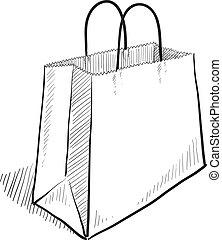 Doodle style shopping bag illustration