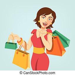 Shopping girl. Vector flat cartoon