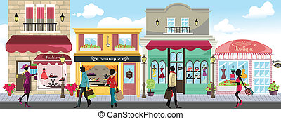 A vector illustration of people shopping in an outdoor shopping mall