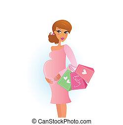 Shopping pregnant woman