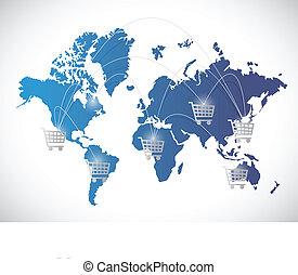 shopping worldwide concept illustration design over white