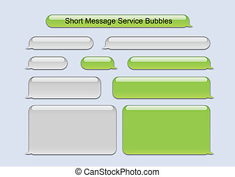 Illustration of SMS Bubbles green and gray used on famous phone