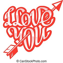 Hand drawn phrase I Love You inscribed in a heart shape. Eps8. RGB. Organized by layers. Gradients free.