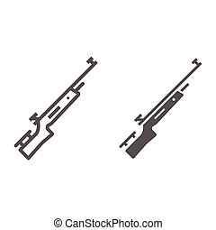 Shotgun for biathlon line and solid icon, Winter sport concept, firearm sign on white background, Rifle shoot icon in outline style for mobile concept and web design. Vector graphics.