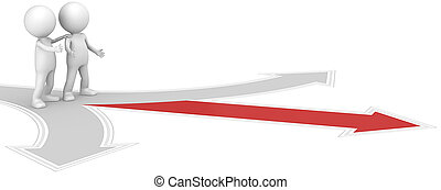 3D little human character X2 at a Crossroad. One Red. People series.