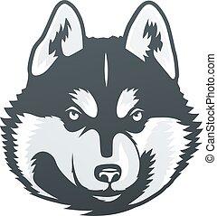 Siberian Husky head vector illustration.