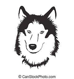 Siberian Husky portrait. sketch stock Illustration.