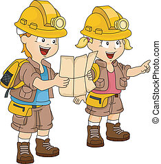 Illustration of a Pair of Siblings Dressed in Camping Gear Following a Map