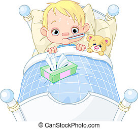 Cartoon illustration of cute sick boy in bed