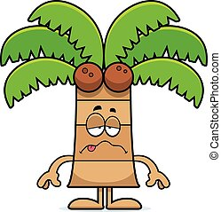 A cartoon illustration of a palm tree looking sick.