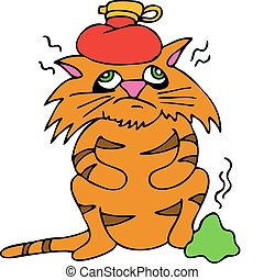 An image of a sick cat with headache and upset stomach.