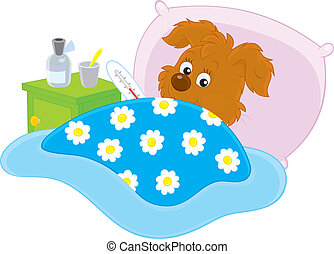 Ill pup lying in his bed with a thermometer, vector illustration