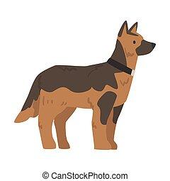 Side View of German Shepherd Dog Cartoon Vector Illustration