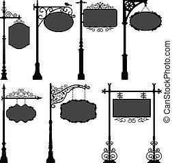 A set of street pole with frame.