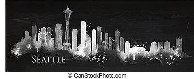 Silhouette Seattle neighborhood painted with splashes of chalk drops streaks landmarks drawing with chalk on blackboard
