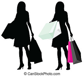 silhouette girl shopping