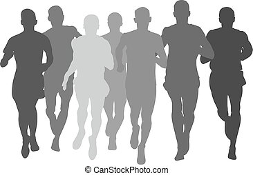 silhouette group men athletes runners