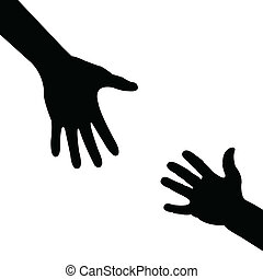 silhouette hand , helping hand