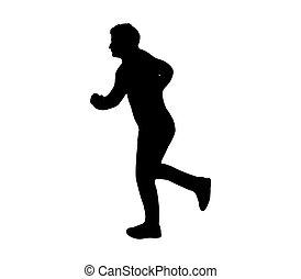 silhouette man running