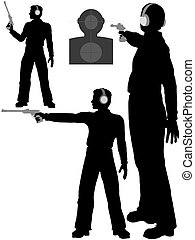 A silhouette man shoots a target pistol in three poses.