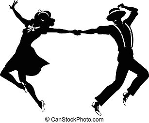 Silhouette of a couple dancing