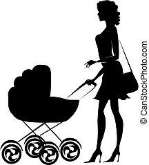 Silhouette of a lady pushing a pram