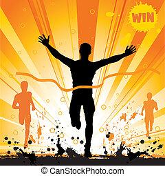 Silhouette of a Man Winner on Grunge Background, illustration for design