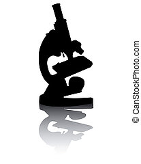 Silhouette of a microscope with reflection on a white background
