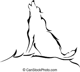 Silhouette of a wolf howling isolated on white background. Logo.