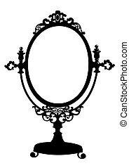 Silhouette of retro oval cosmetic mirror. Vector illustration isolated on white.
