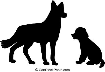 Silhouette of dog and little puppy