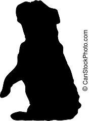 silhouette of english bulldog sitting pretty or begging - illustration