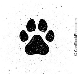 Silhouette of dog's paw in grunge style. Dirty trail. Wild nature. Small particles, dust