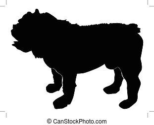 silhouette of english bulldog