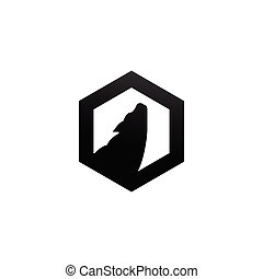 Silhouette of howling wolf inside hexagon shape vector