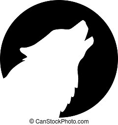 Silhouette of Husky head in fornt of moon
