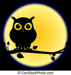 Dark shadow silhouette of an owl with yellow eyes, perched on branch on a night with full moon, perfect for halloween.