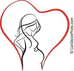 Silhouette of pregnant woman logo