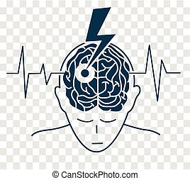 concept of the disease is a stroke in the form of a silhouette of a man and an arrow that engenders the brain, as a symbol of the disease and on the background of a cardiogram. icon, silhouette in a linear style