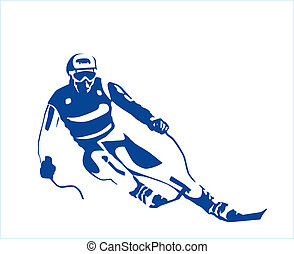 silhouette of the skier