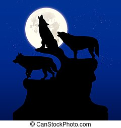 Silhouette of three black wolves howling at the moon, on top of a cliff, cartoon on a blue background with stars,
